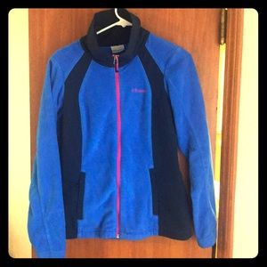Blue black and pink high neck fleece. Like new.